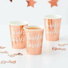 ROSE GOLD CUPS Twinkle Little Star Baby Shower Christening Birthday Tableware