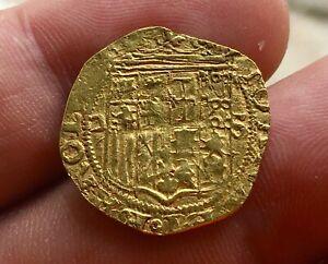 🔥RARE🔥GOLD COB 1 ESCUDO OF JUANA Y CARLOS (1504-1555) SEVILLA MINT ASSAYER D