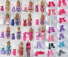 Original Barbie Lot 12 Item 6x Dress & 6x Shoes Clothes Party Gown Casual wears
