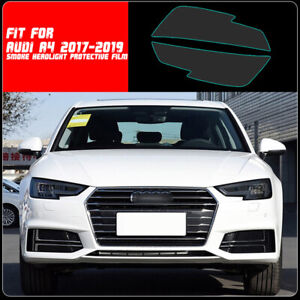 LH+RH Smoke TPU Headlights Protective Precut Film Sticker Cover Trim For Audi A4