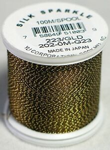 YLI 100% and 100wt Silk Sparkle Thread [ G23 - Taupe Brown / Gold ]