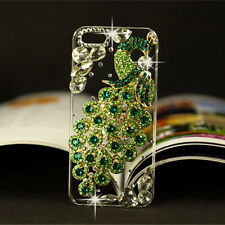 Bling Diamonds Crystal Peacock Thin Clear Soft TPU Back Shell Phone Cover Case A