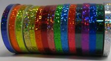 15 Different Holographic Glittering Tapes, 1/2 inch x 25 ft, Hologlitter Sequins