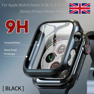 Tempered Glass Screen Protector + Case Cover For iWatch Apple Watch 6 5 4 3 2 1
