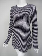 THEORY Belira Navy White Stripe Ribbed Wool Knit Tunic Sweater sz L