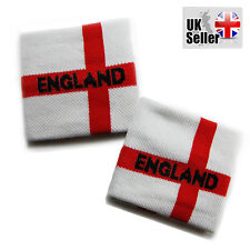 Pair of England Flag Sweatband Cheering Squad Sports Fans Worldcup Wristband