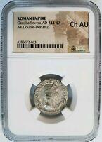 Otacilia Severa Roman Empire 244-249 AD NGC AU Double Denarius Ancient Concordia