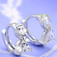 Women Fashion Jewelry 925 Silver Plated Crystal Angel Wings Ear Hoop Earrings