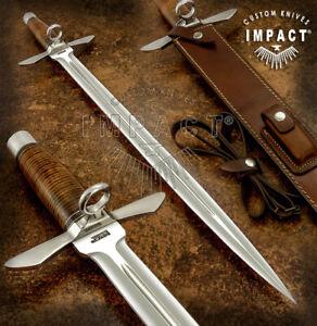 IMPACT CUTLERY RARE CUSTOM D2 ART DAGGER KNIFE SWORD STACKED LEATHER