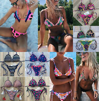Women Swimwear Beach Bikini Tassel Bathingsuit Floral Swimsuit Bandage Triangle