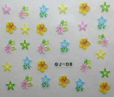 Accessoire ongles : nail art - Stickers autocollants , fleurs multicolores