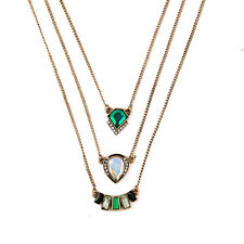 Marquesas Convertible Pendant Necklace Triple-row Emerald Green Stone Jewelry