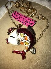 Betsey Johnson Necklace KISSING FISH CRYSTALS Red TOP HAT Adorable