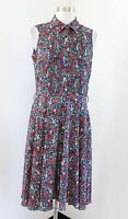 Nanette Lepore Teal Floral Print Pintuck Fit and Flare Sleeveless Shirt Dress 6