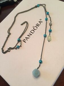Vintage Retired Pandora Blue Pearl & Chalcedony Oxidized Lariat Extremely Rare!!