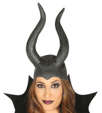 Black Female Latex Maleficent Horns Costume Fancy Dress Halloween Headpiece