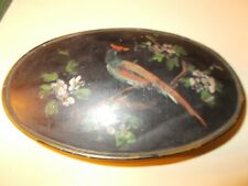 1800S Oval Tin Box With Opening Lid With Toleware Paint Of A Bird On A Limb With