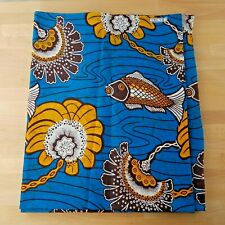 African Wax Print Fabric in Blue Orange/Gold and Brown Flowers Fish- 4 Yd X 43""