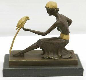 Handcrafted bronze sculpture SALE /Marble Parrot The And Lady Deco Art Chiparus