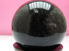 53mm BLACK OBSIDIAN SPHERE 185g  w/ stand: from INDIA; DECOR ;WICCA;FENG SHUI #5