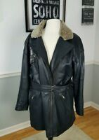 Henri Bendel Women's Black Soft Leather Coat Jacket Faux Collar Flaw Belted Sz L