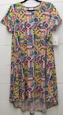 LuLaRoe Carly Flowy Dress Paisley Geometric Purple Teal Red Coral S Small New