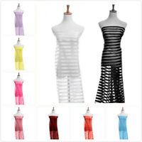 1M Organza Sheer Stripe Fabric Satin Wedding Dress Cloth Craft Elegant 12 ColorS