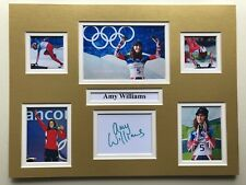 """Winter Olympics Skeleton Amy Williams Signed 16"""" X 12"""" Double Mounted Display"""