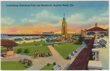 Oceanfront Park & Broadwalk, Daytona Beach, Florida - Vintage Linen Postcard