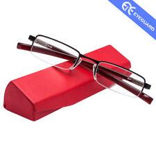 EYEGUARD Reading Glasses Half-Rim Metal Frame Mini Lens Readers Unisex Hard Case