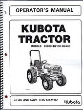 Kubota B1700 B2100 B2400 Tractor Operator Manual