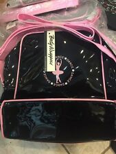 Body Wrappers Patent Black Dance Ballet Bag Tote with pink straps accessories