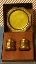 Three Piece Brass Salt and Pepper Shaker Set in Box