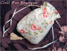 Civil War Victorian Stripes Roses RETICULE PURSE 100% cotton NEW ivory mauve