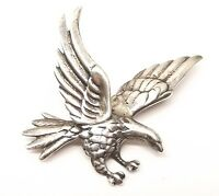 Vtg Sterling Silver Bald Eagle Hawk Brooch Pin American Estate 3D Flying Heavy
