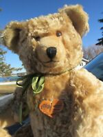 "VINTAGE MOHAIR TEDDY BEAR BIG 20"" GROWLER RABY RAUENSTEIN TAG MADE GERMANY RARE"