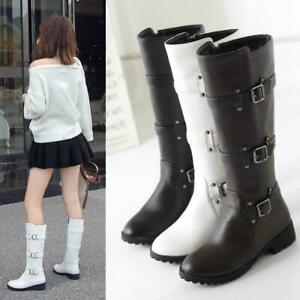 Womens Mid Calf Boots Buckle Strap Side Zip Chunky Heels Casual Shoes Plus size