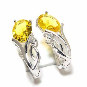 """Brazilian Lemon Topaz & White Topaz 925 Sterling Silver Earring 0.87"""" E881-91_R"""