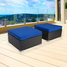 2 PC PE Rattan Wicker Sofa Ottoman Sectional Couch Footstool Outdoor Furniture