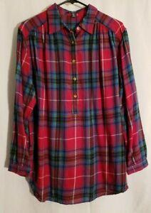 Chaps-Women Magenta Purple Blue Plaid Long Sleeve Flannel Button Shirt Top-1X