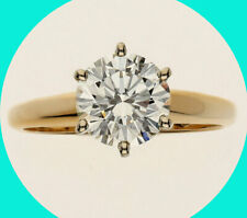 REDUCED $3000 GIA 2.04CT GVS2 Round brilliant diamond engagement ring 14KYG