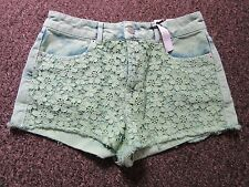 BNWT TopShop Shorts 12 W30 Denim High Waisted Floral Crochet Lace Green Dress