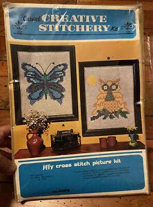 NIP VTG Crewel Creative Stitchery Kit 440 B OWL 12x16 Jiffy Cross Stitch Kit