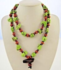 Green Turquoise Wood Pendant Necklace Fushia Purple Clay Beads Gemstone 29""