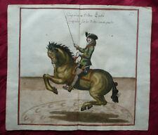 Croupade sinistra EQUITAZIONE CAVALLO HORSE tenta RAME chiave Cavendish spörlin 1700