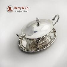 Continental Serving Dish Hinged Lid Under Plate 800 Silver Gadrooned Rim 1910s