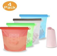 Eco-Friendly Reusable Silicone Food Storage Bags 4 Pack
