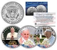 POPE FRANCIS * 2015 U.S. Visit * Papal Colorized 2015 JFK Half Dollar 3-Coin Set