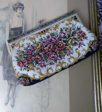 Vtg Victorian Style Art Deco Clutch Evening Bag Purse Gold Frame Floral Tapestry