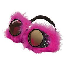Neon Pink Cyber Punk Faux Fur Rave Goggles Glasses Costume